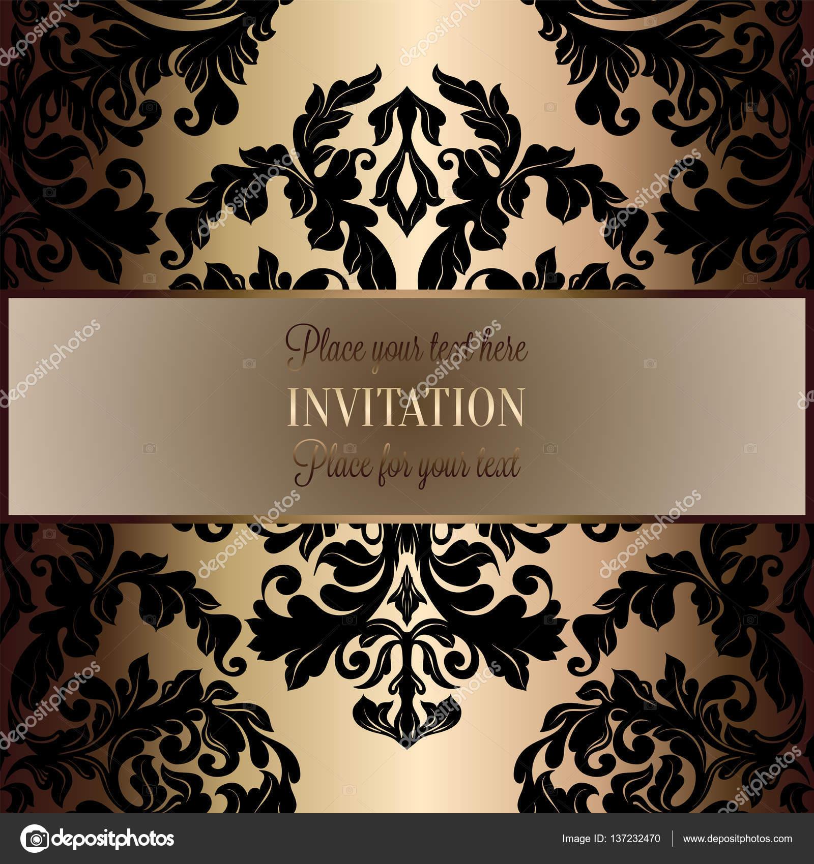 Fondo barroco antiguo, marco negro y dorado de lujo del vintage ...