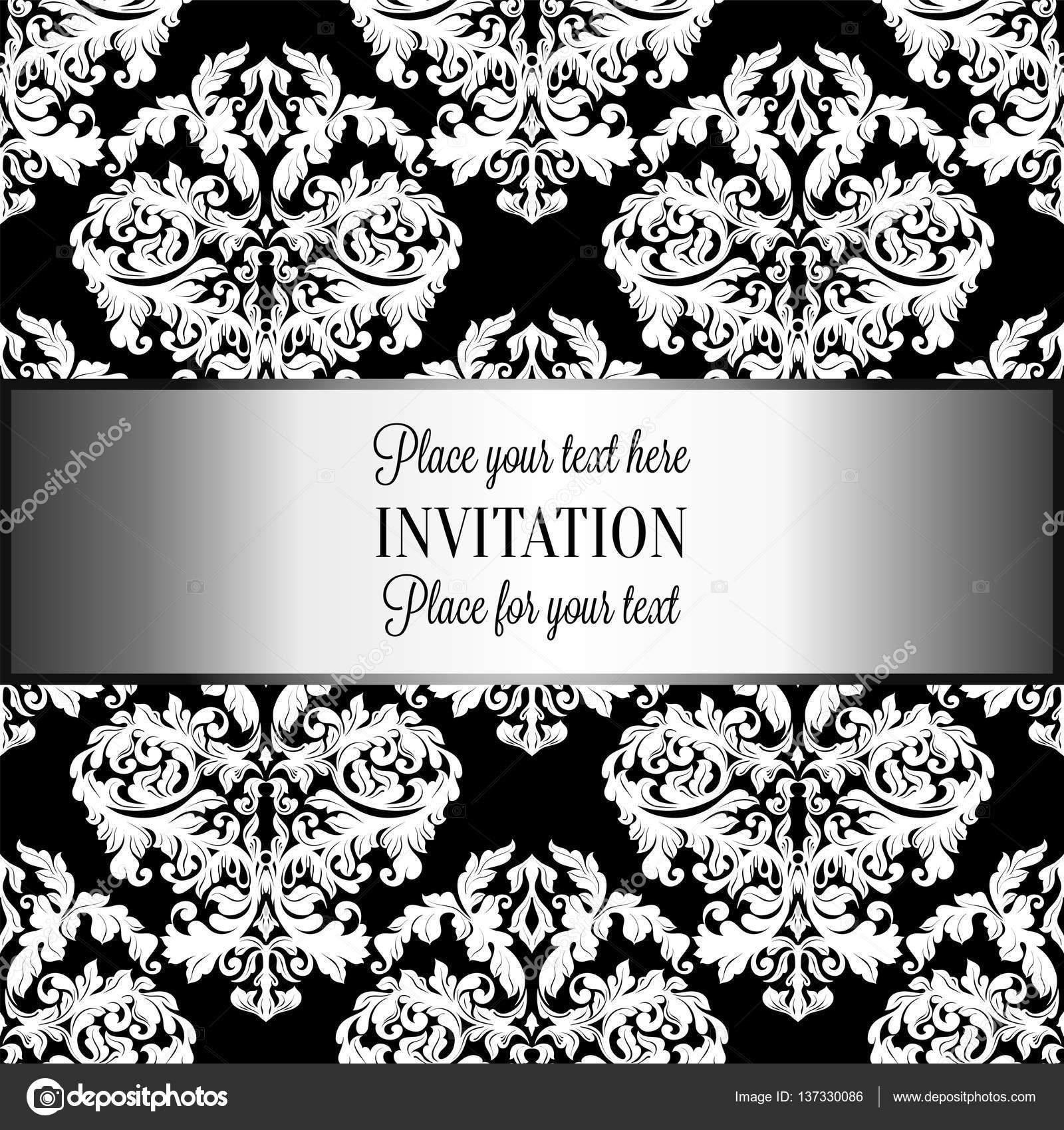 fondo barroco con el lujo antiguo gris negro y metal plata marco vintage bandera victoriana ornamentos de damasco de papel tapiz floral invitacin