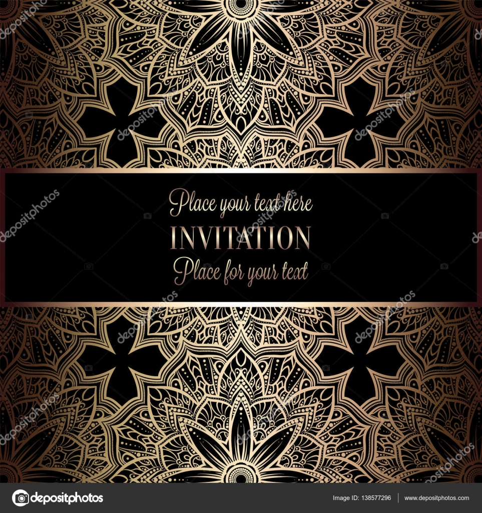 baroque background with antique luxury black and gold