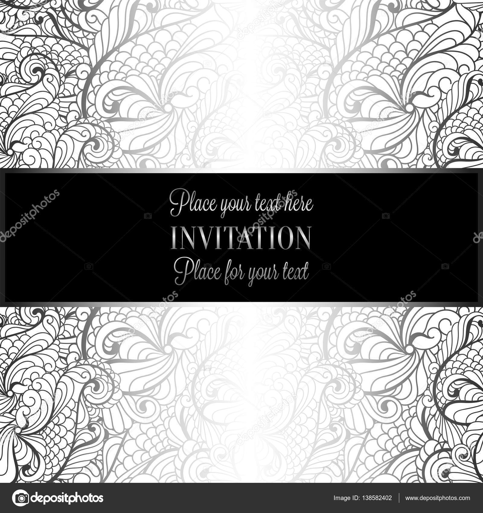 Baroque Background With Antique Luxury White And Silver Vintage Frame Victorian Banner Damask