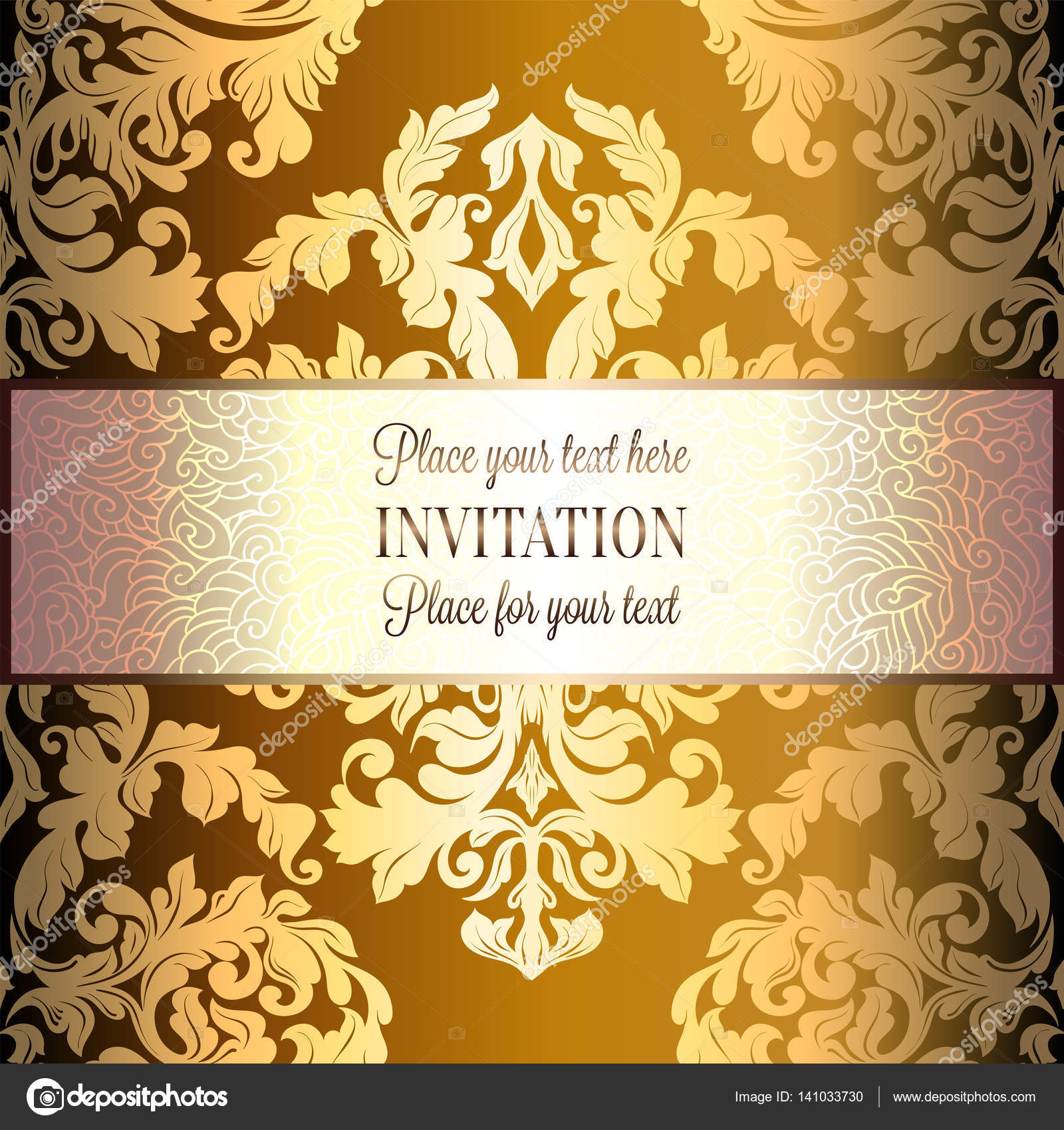Baroque Background With Antique Luxury Gold Vintage Frame