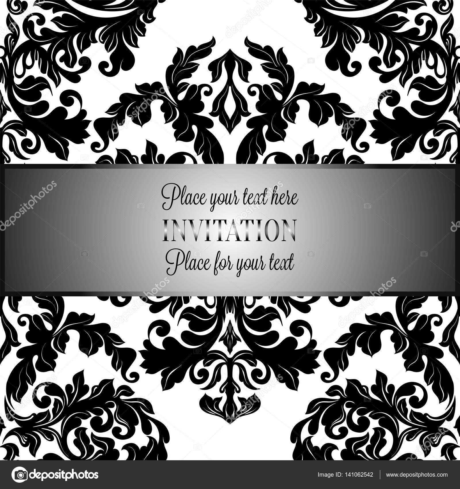 Fondo barroco antiguo, marco vintage de lujo blanco y negro, bandera ...