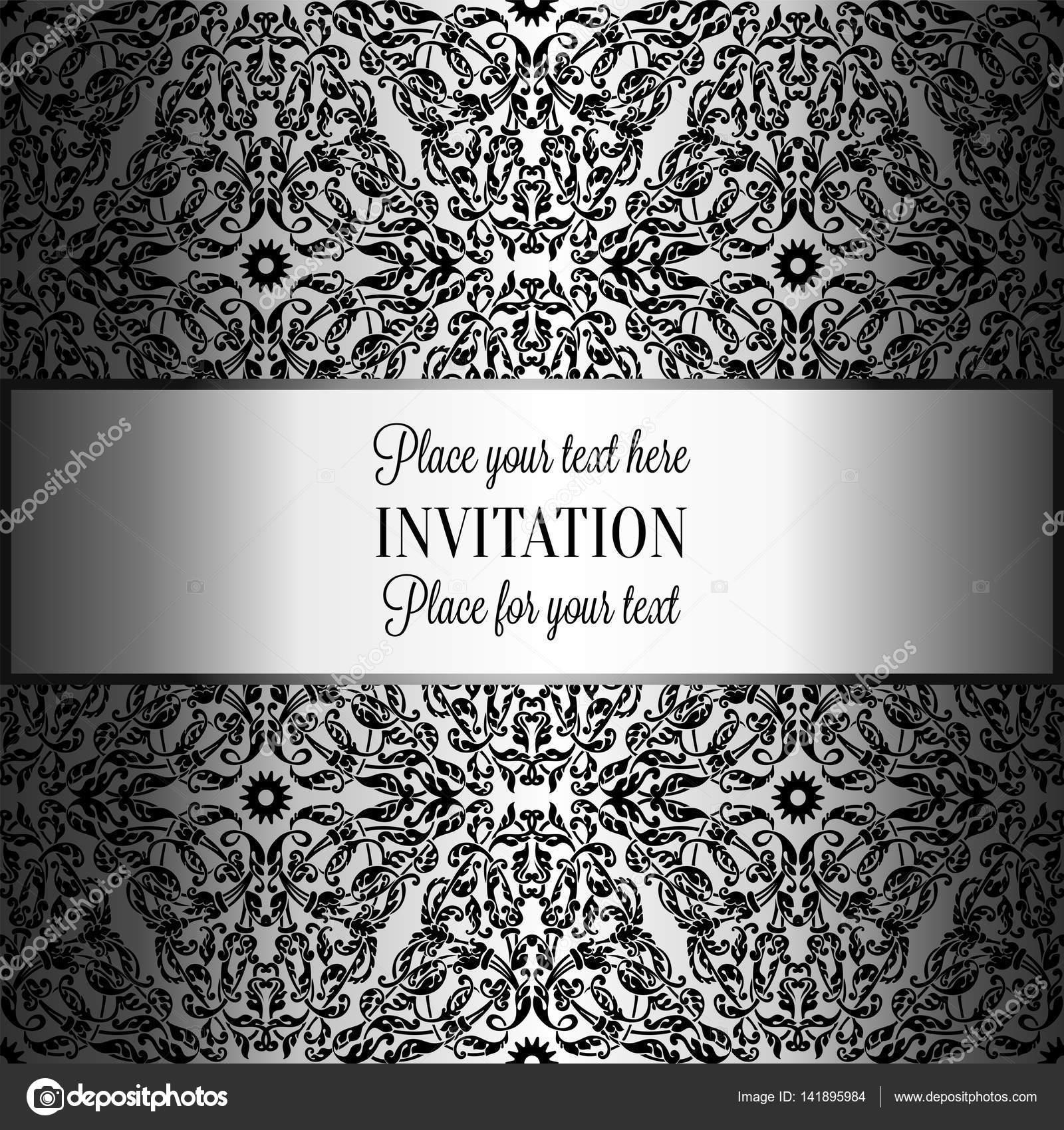 Barocke Hintergrund Mit Antik Luxus Schwarz Und Metall Silber