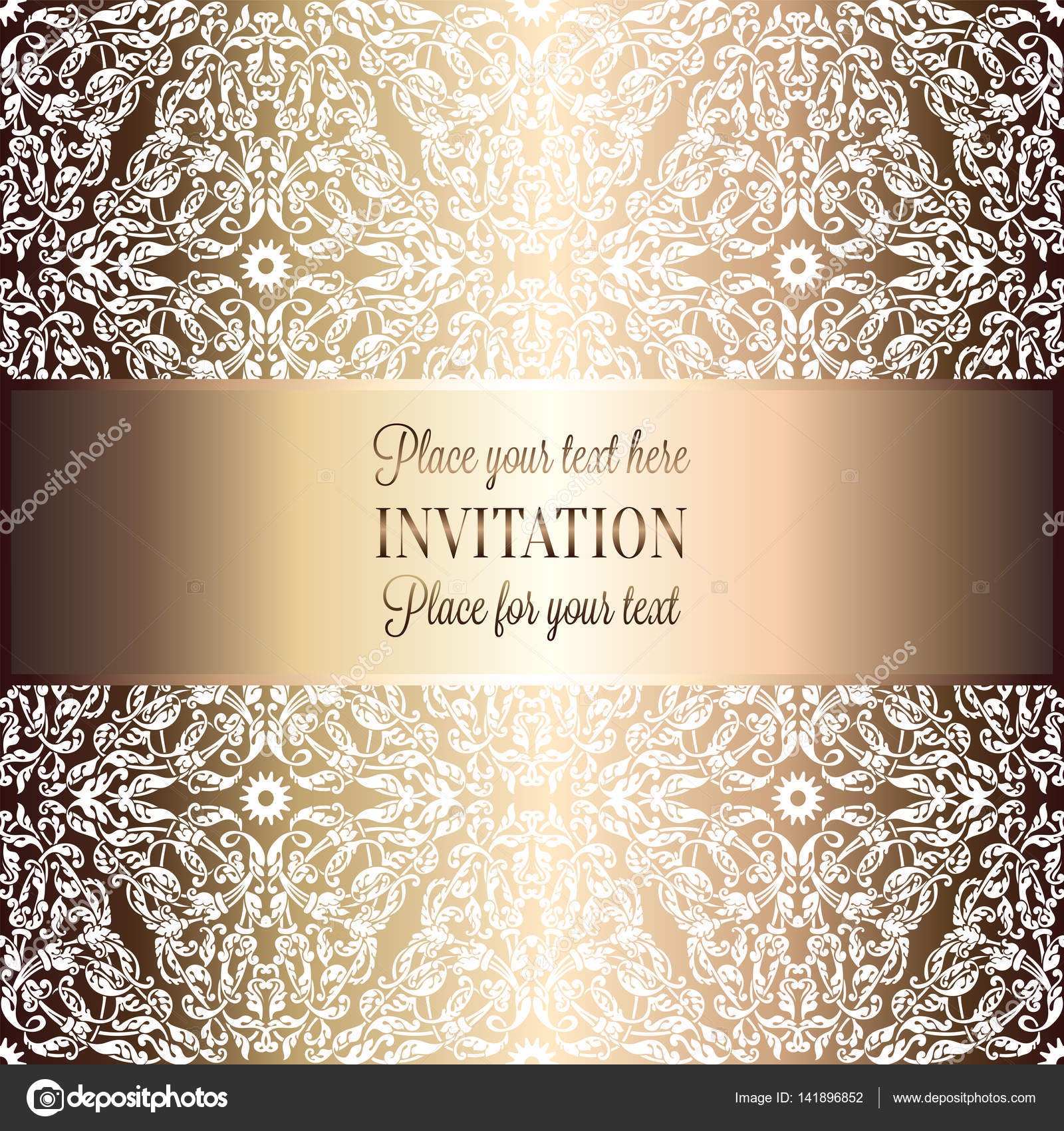 fondo barroco antiguo beige de lujo y metal oro marco vintage victorian banner damasco ornamentos de papel tapiz floral invitacin folleto de estilo