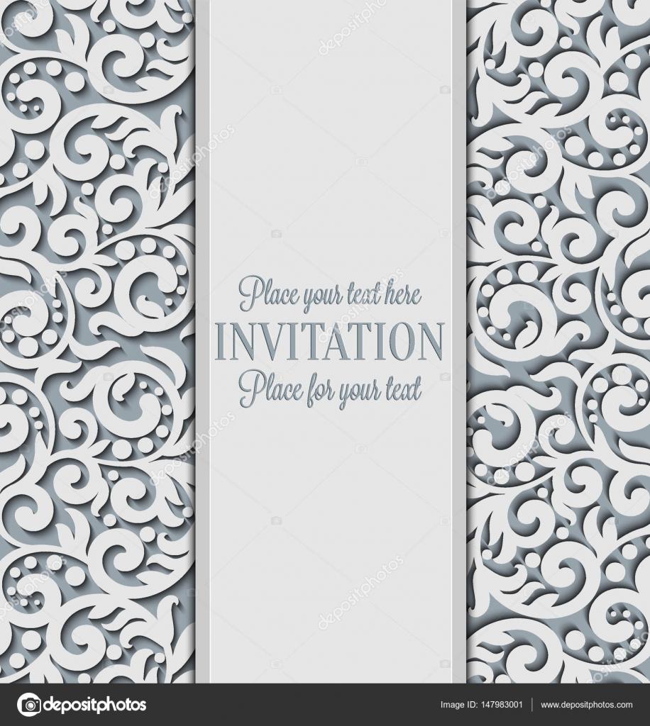 Vektor floral wirbelt dekoriert Einladungskarte. Abstrakt 3d ...