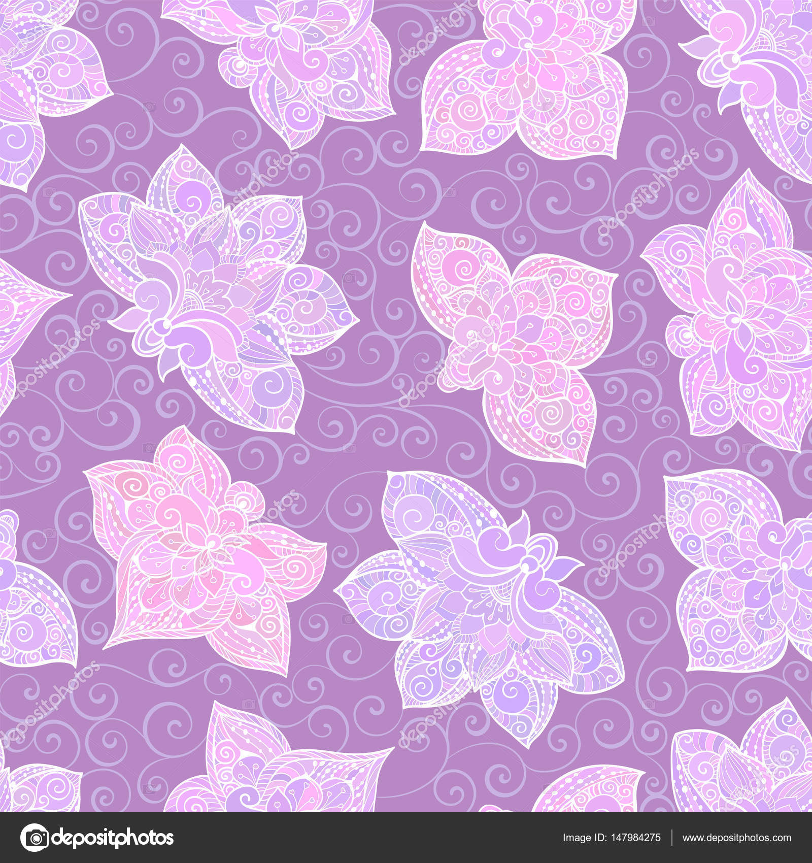 Vector seamless pattern with lilac pastel ornament. Tile in ...