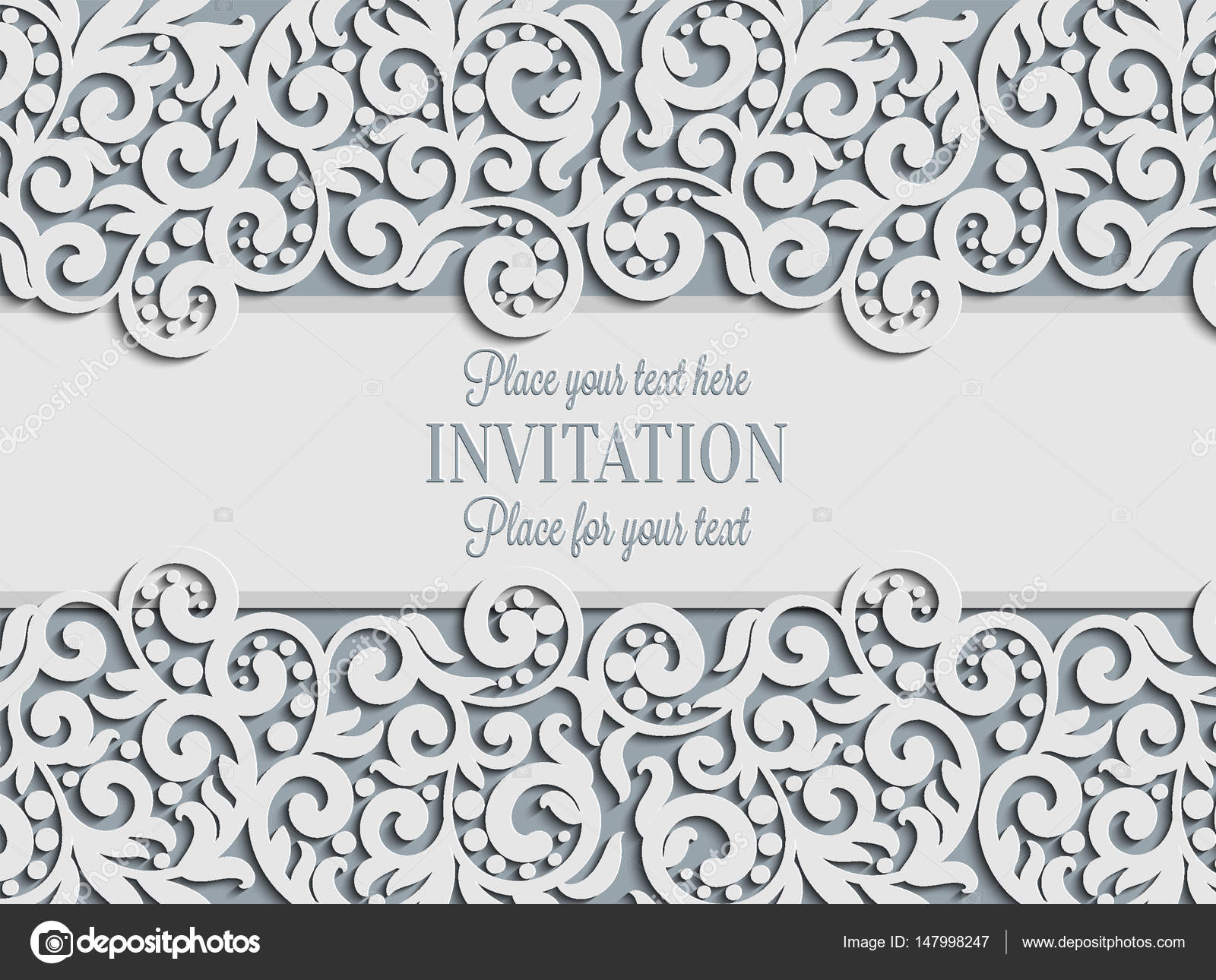 Vector Floral Swirls Decorated Invitation Card Abstract 3D Background Design Template With Place For Text White Simple Lace Shadow Paper Cut Effect