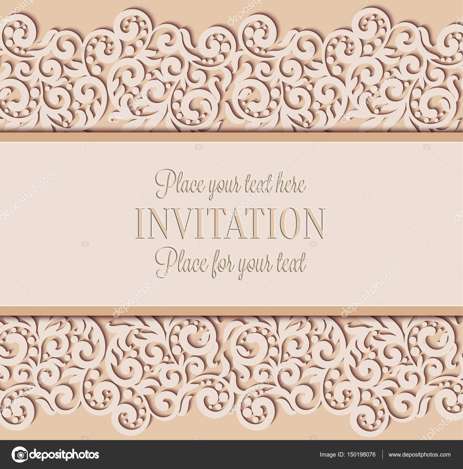 Vector Floral Swirls Decorated Invitation Card Abstract 3D Background Design Template With Place For Text Beige Simple Lace Shadow Paper Cut Effect