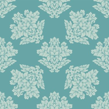 Damask seamless pattern intricate design. Luxury royal ornament, victorian texture for wallpapers, textile, wrapping. Exquisite floral baroque lacy flourish repeating tile in soft pastel turquoise col