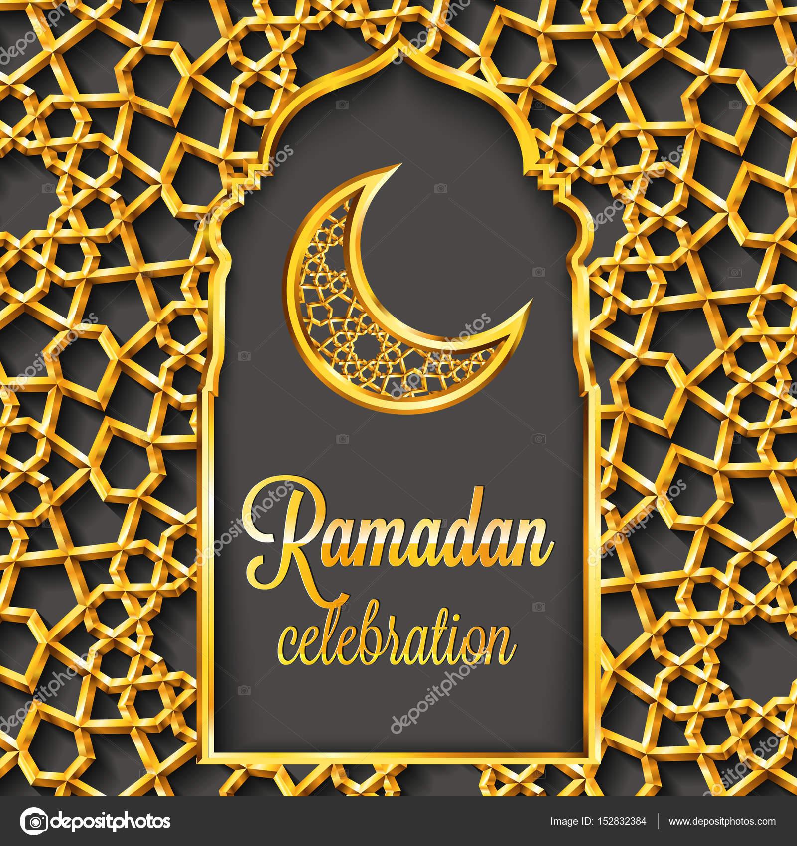 Ramadan Kareem greeting card with traditional islamic pattern ...
