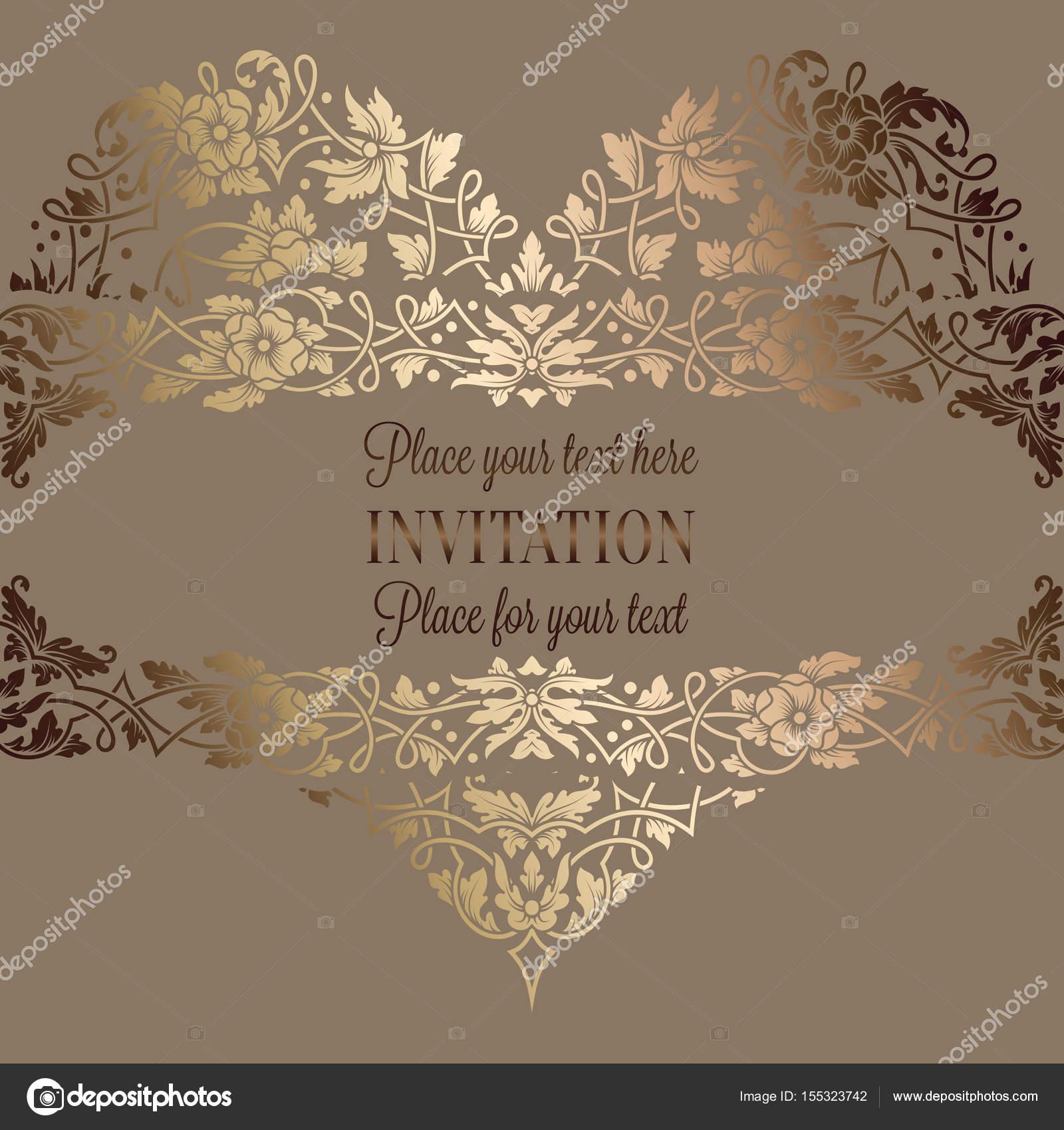 Invitación floral con antigüedad, lujo beige y oro vintage marco y ...
