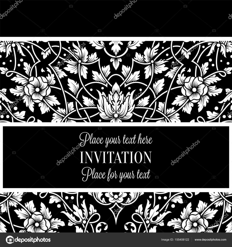 Floral Einladungskarte mit antik, Luxus schwarz / weiß-Vintage ...