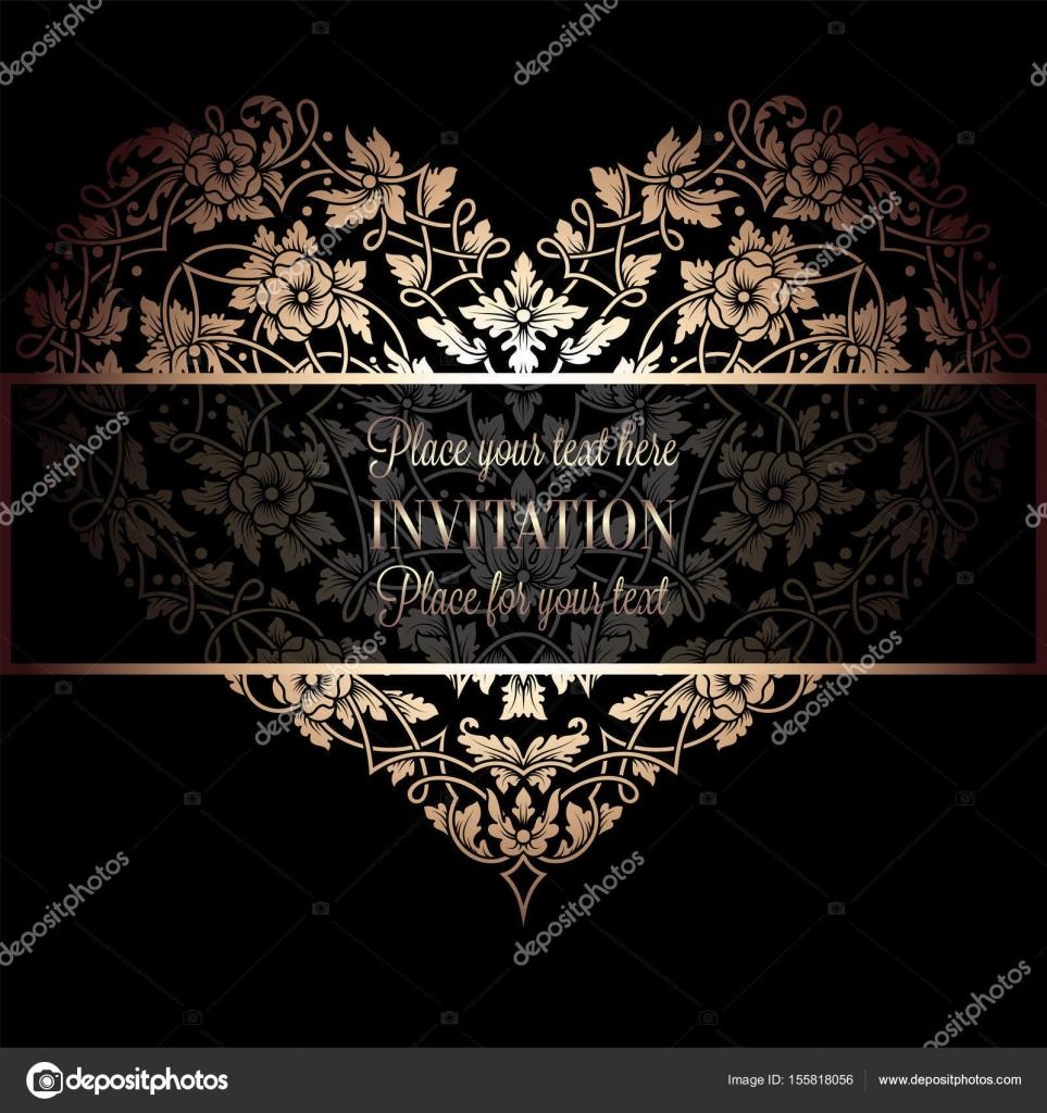 Invitación floral con antiguo marco vintage negro y dorado de lujo y ...