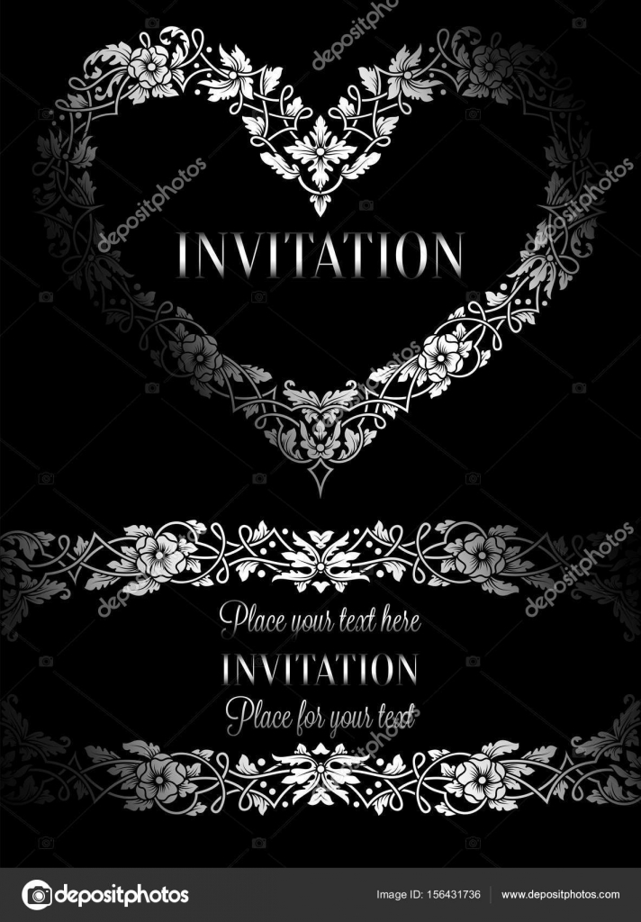 Invitación floral con antiguo marco vintage de lujo blanco y negro y ...