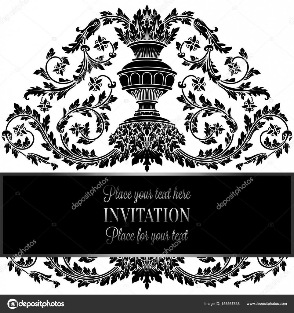 Victorian Rich Background With Antique Luxury Black And White Vintage Frame Ornamental Banner Royal Gold Vase