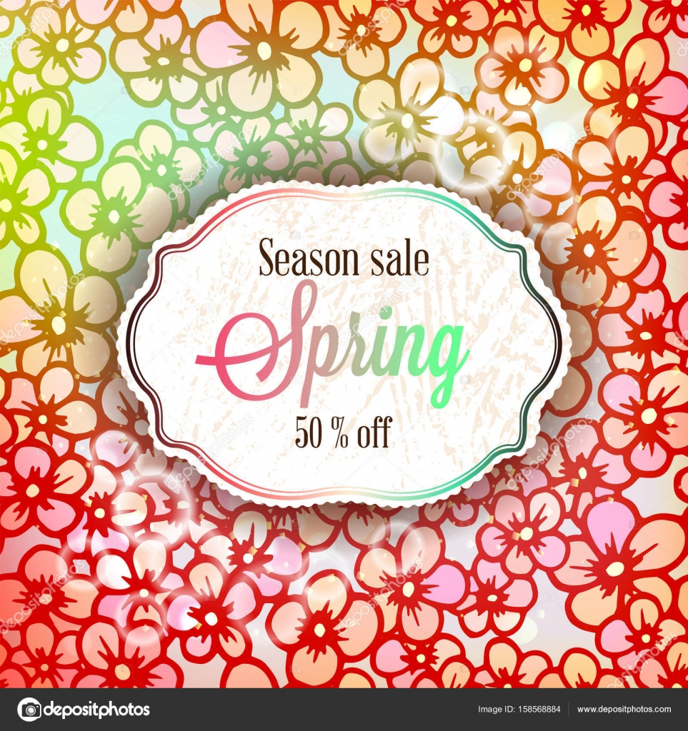 Spring Season Sale Banner With Colorful Rose Flowers And Leaves