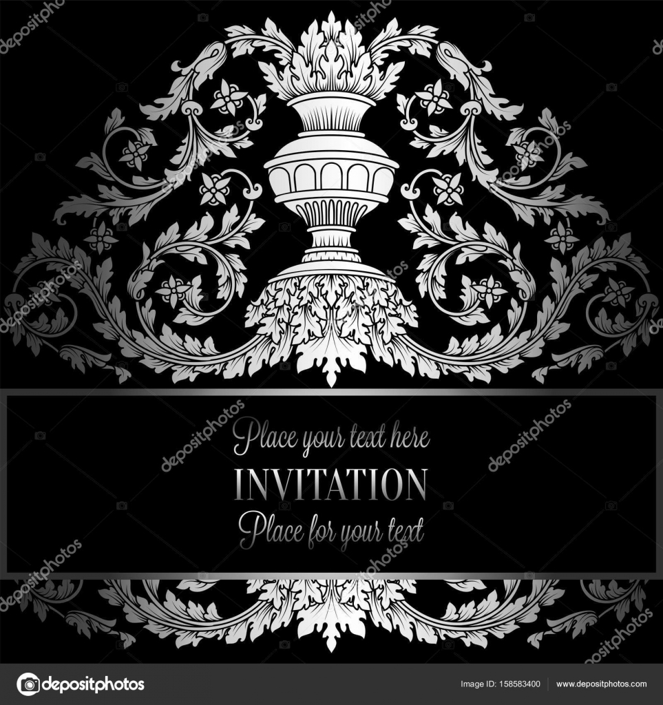 Victorian Rich Background With Antique Luxury Black And Silver Vintage Frame Ornamental Banner Royal Gold Vase
