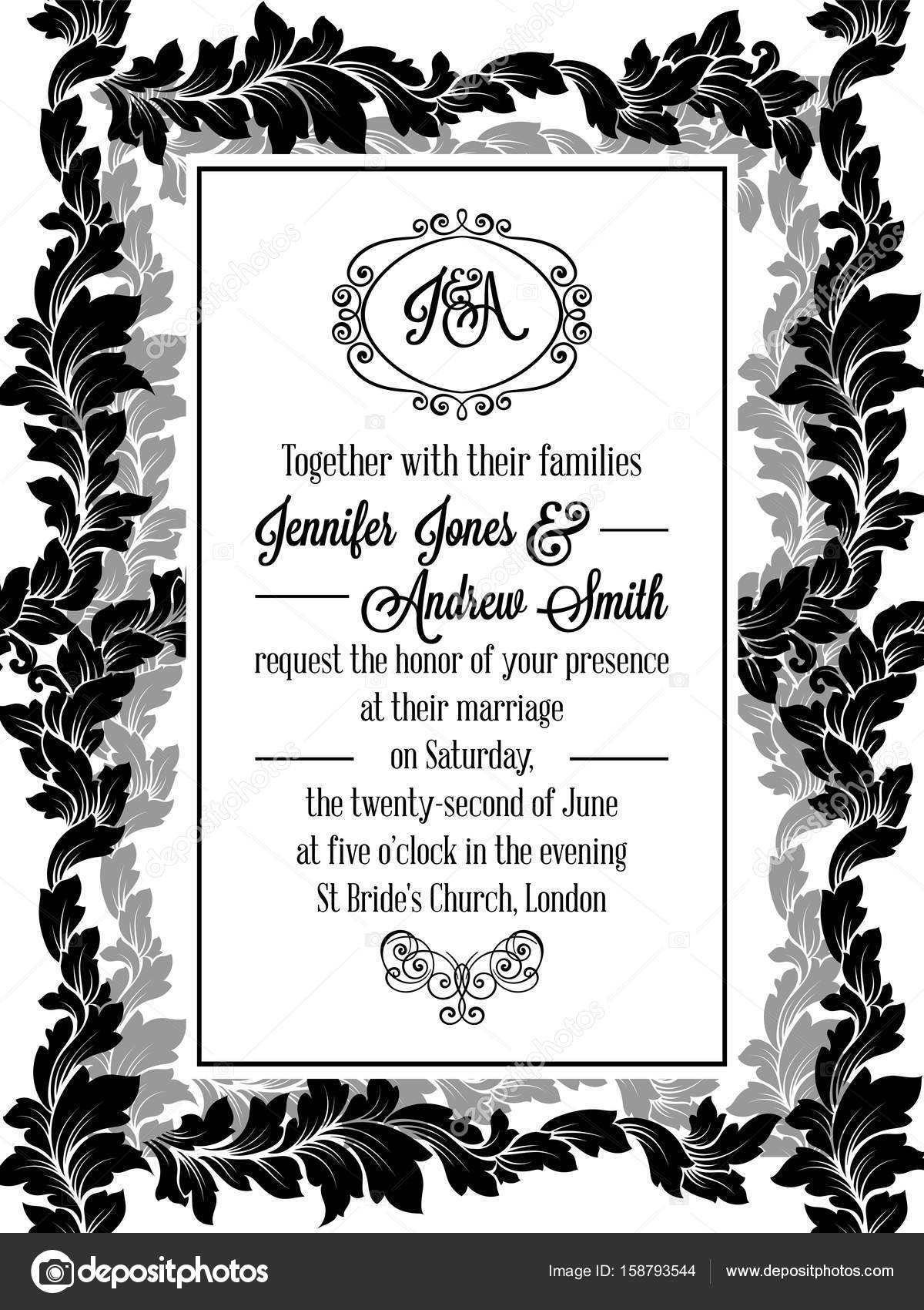 Damask Pattern Design For Wedding Invitation In Black And White