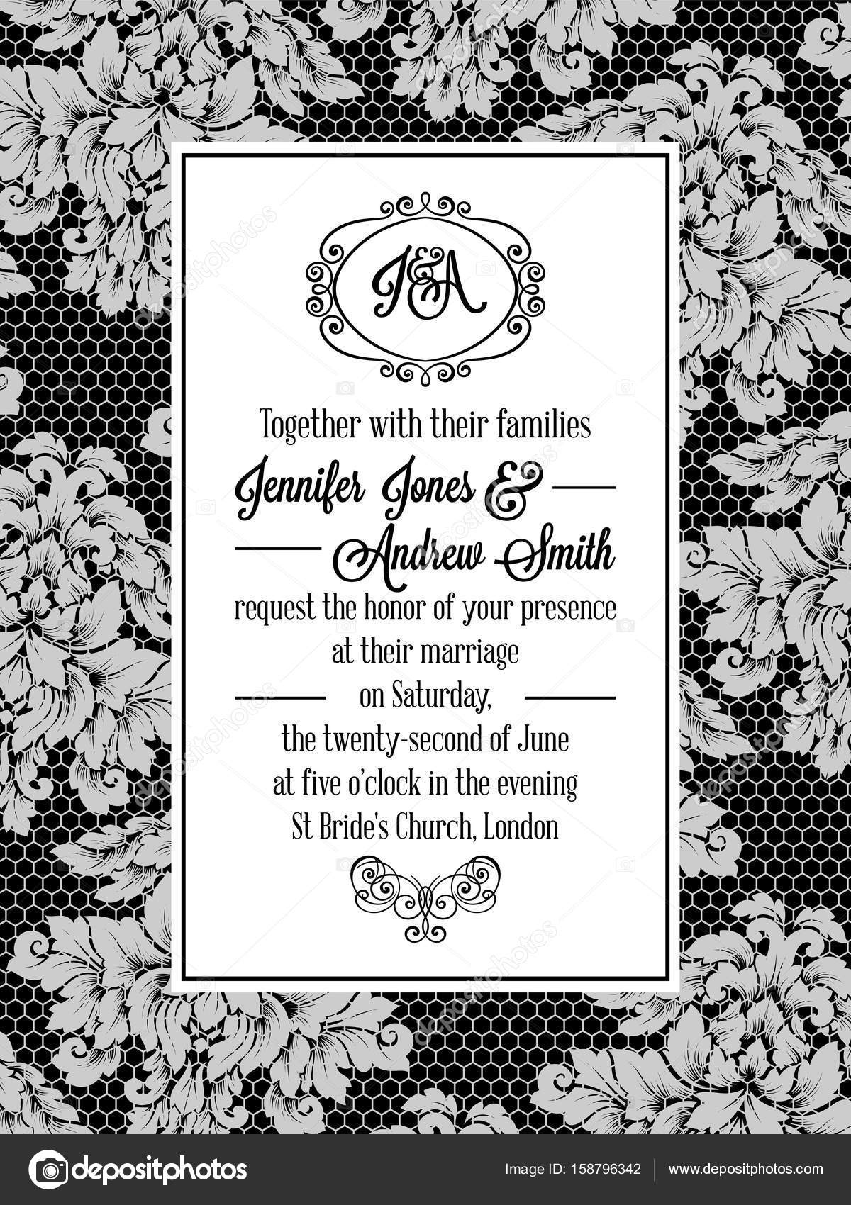Damask pattern design for wedding invitation in black and white lace ...