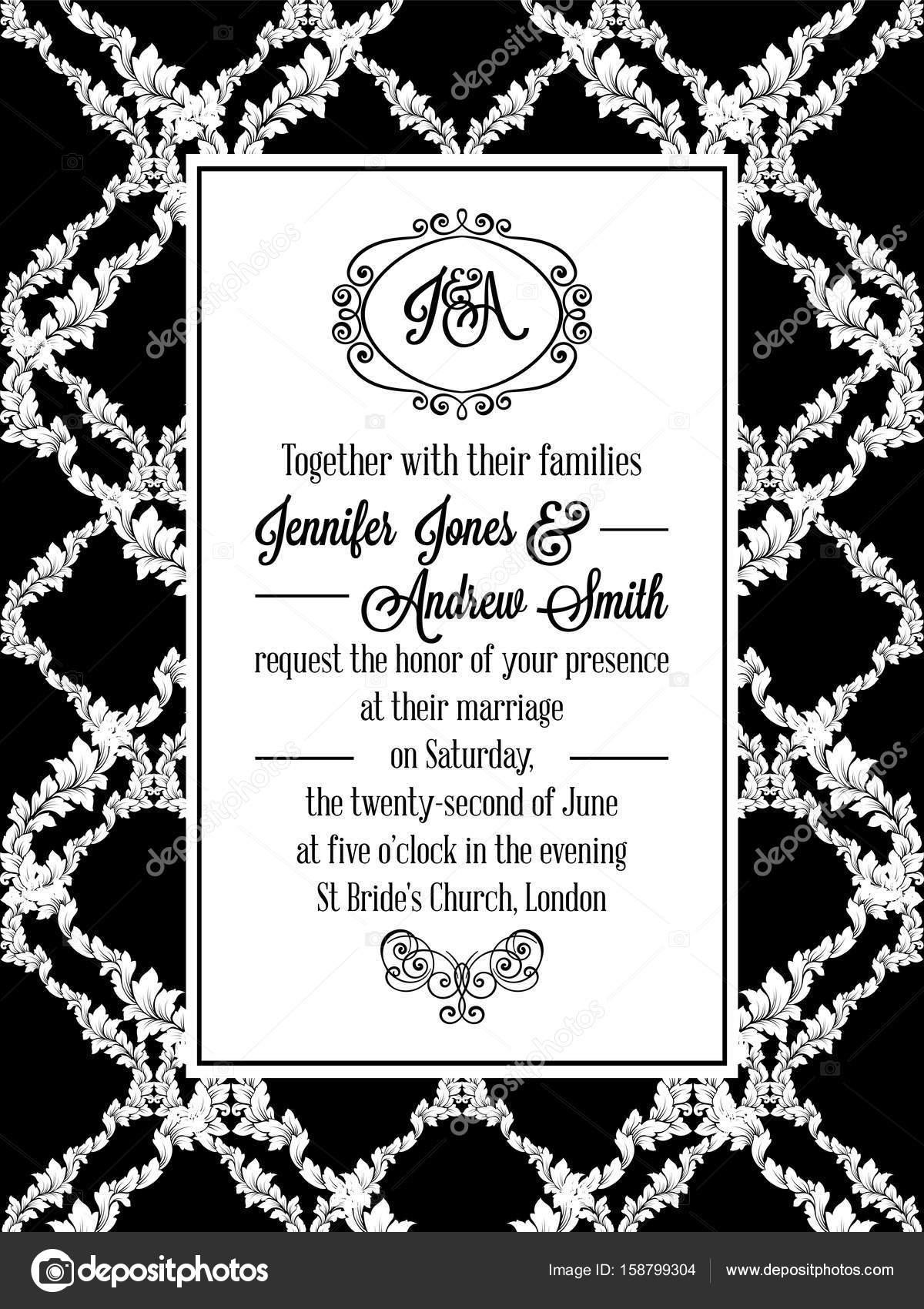 Damast Musterdesign für Hochzeitseinladung in schwarz und weiß ...