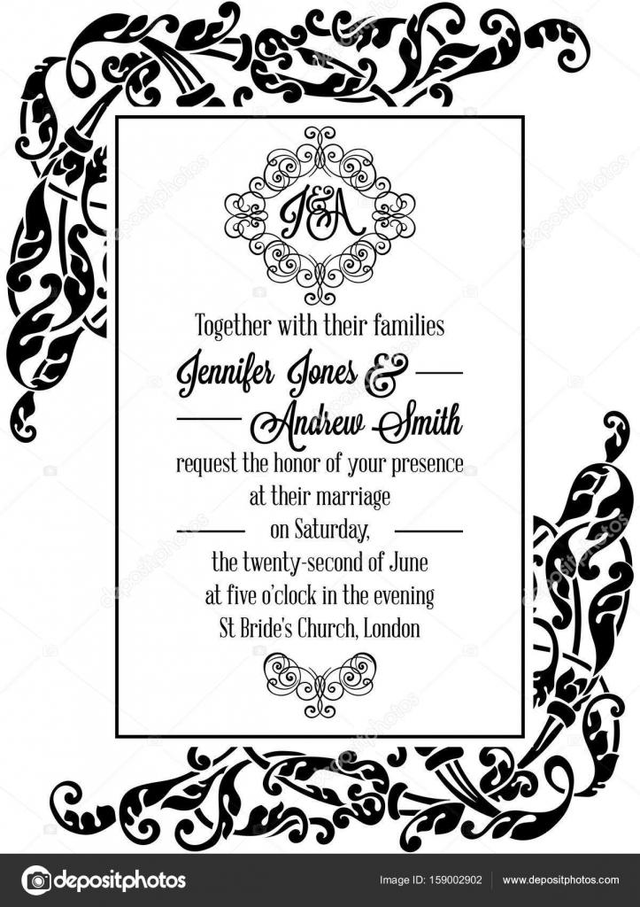 Diseño victoriano exquisito marco para invitación de boda en blanco ...