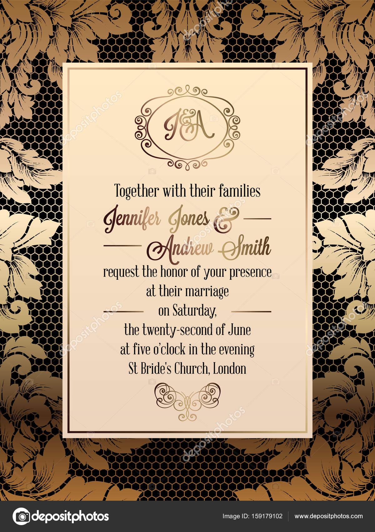 Vintage baroque style wedding invitation card template elegant vintage baroque style wedding invitation card template elegant formal design with damask background stopboris Gallery