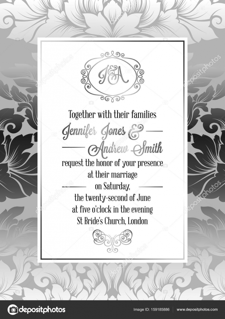 Vintage baroque style wedding invitation card template elegant vintage baroque style wedding invitation card template elegant formal design with damask background stopboris Image collections