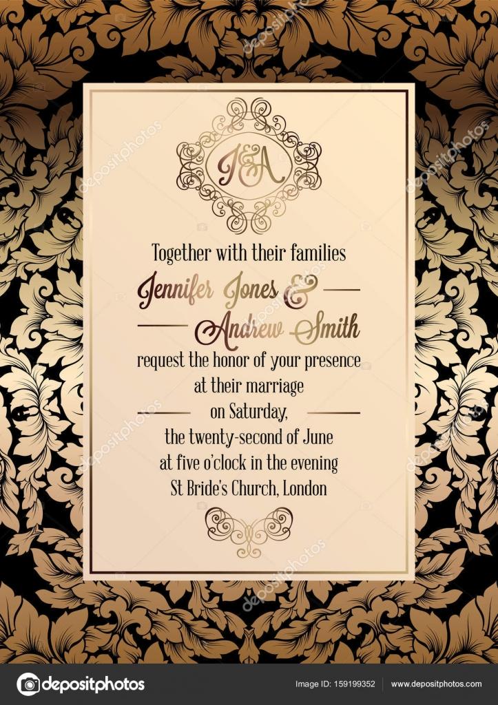 Vintage baroque style wedding invitation card template elegant vintage baroque style wedding invitation card template elegant formal design with damask background stopboris Choice Image