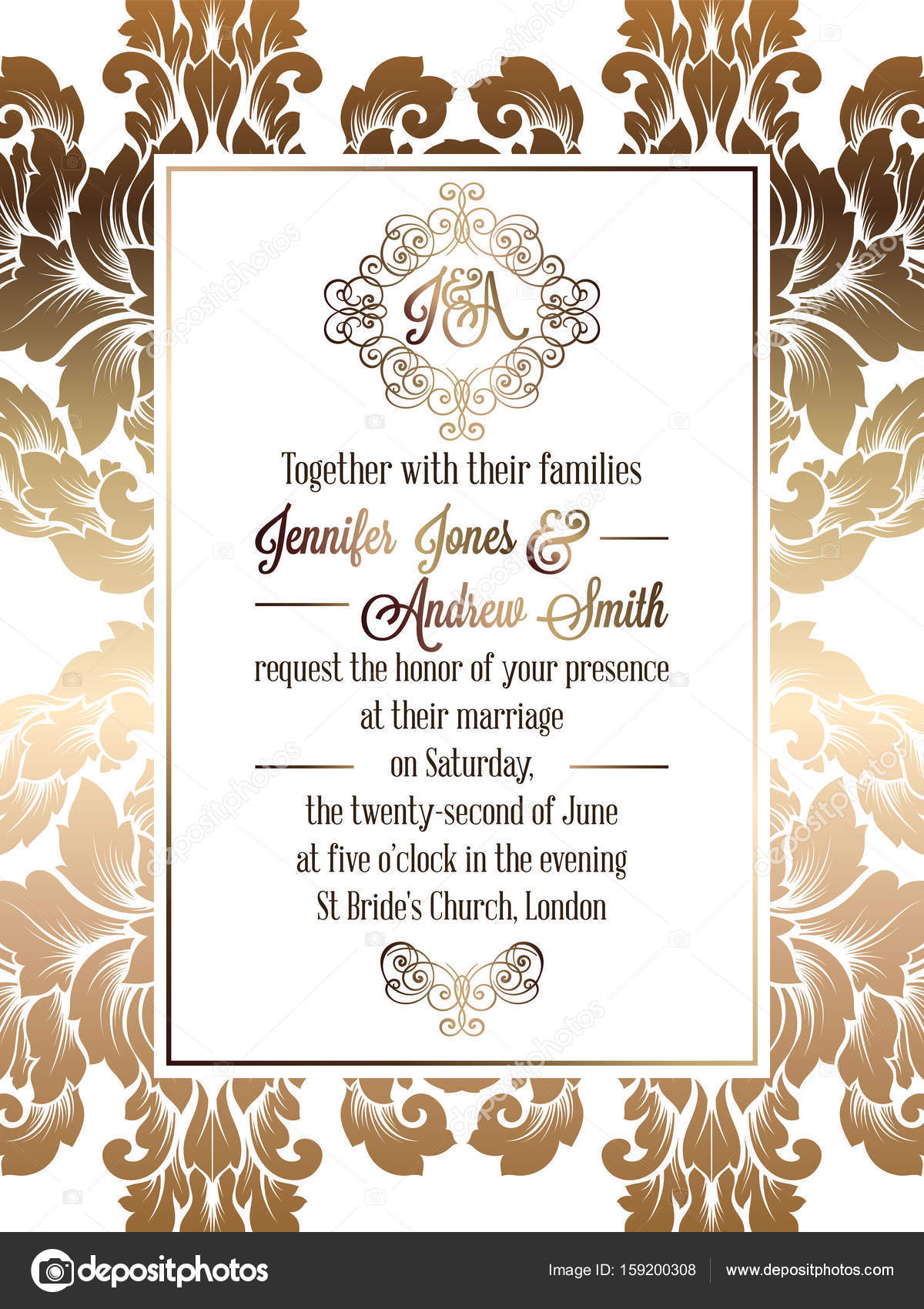 Vintage baroque style wedding invitation card template.. Elegant formal  design with damask background, traditional decoration for wedding , gold on  white background — Stock Vector © MiaMilky #159200308