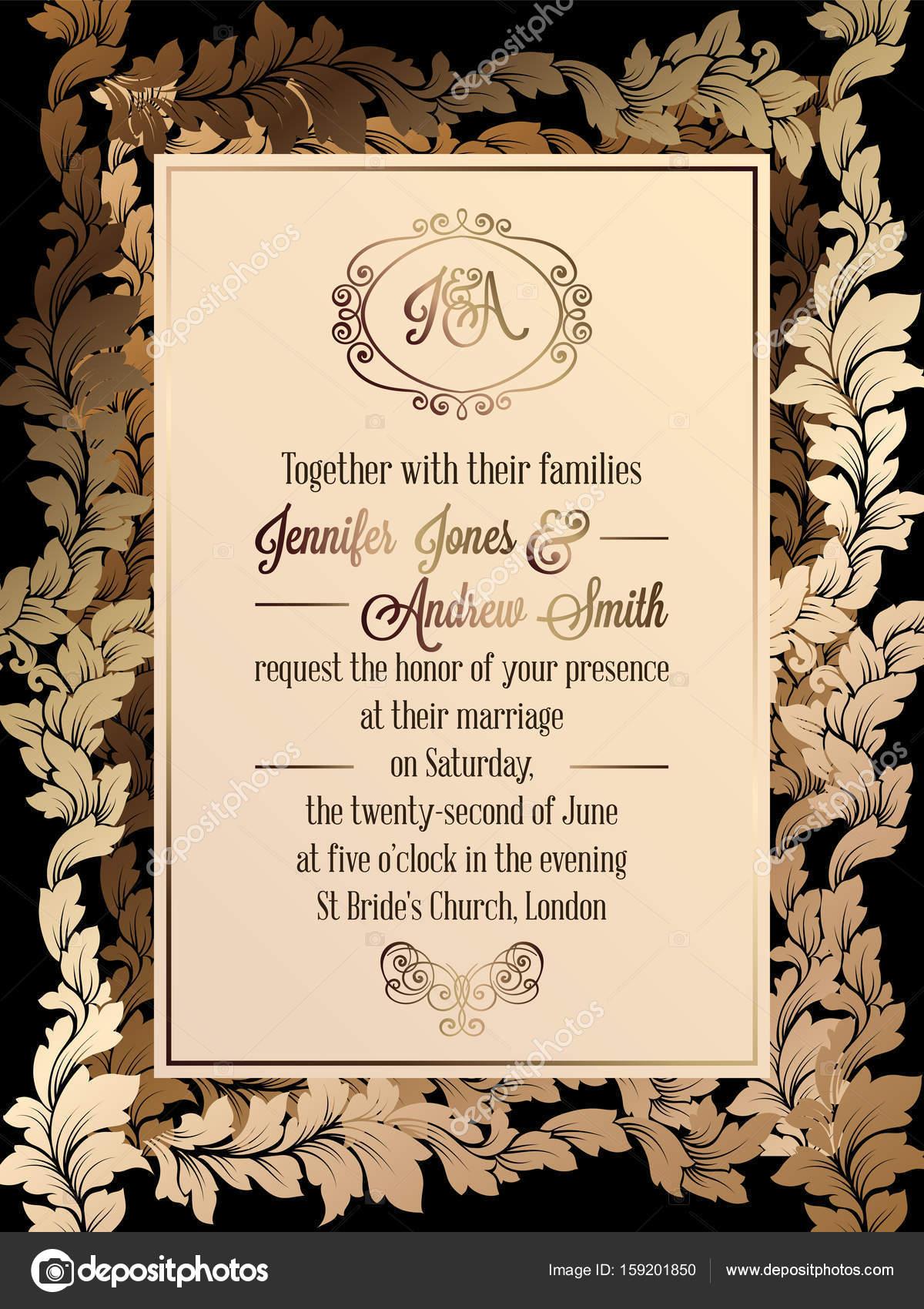 Fondo invitaciones bodas de oro plantilla de tarjeta de - Disenos tarjetas de boda ...