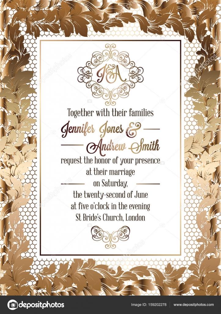 Vintage baroque style wedding invitation card template elegant vintage baroque style wedding invitation card template elegant formal design with damask background stopboris Images