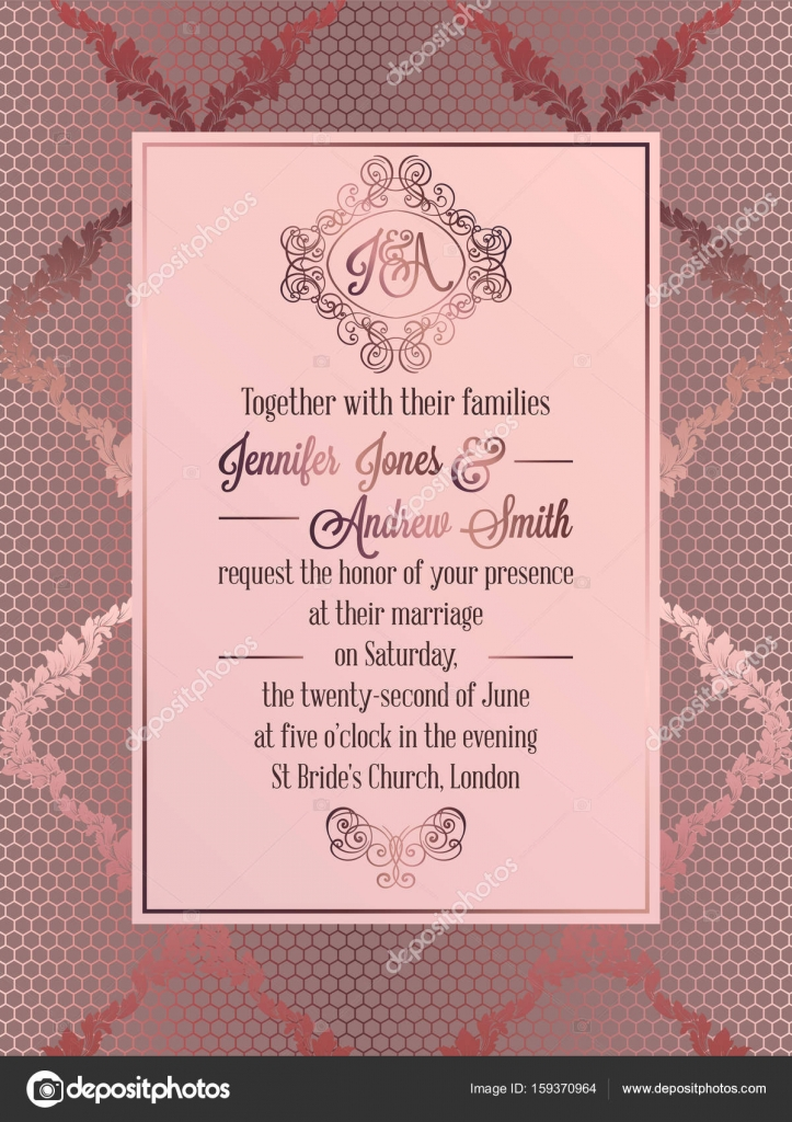 Vintage baroque style wedding invitation card template elegant vintage baroque style wedding invitation card template elegant formal design with damask background stopboris