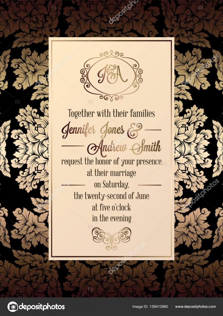 Tarjetas De Invitacion Matrimonio Elegantes Plantilla De