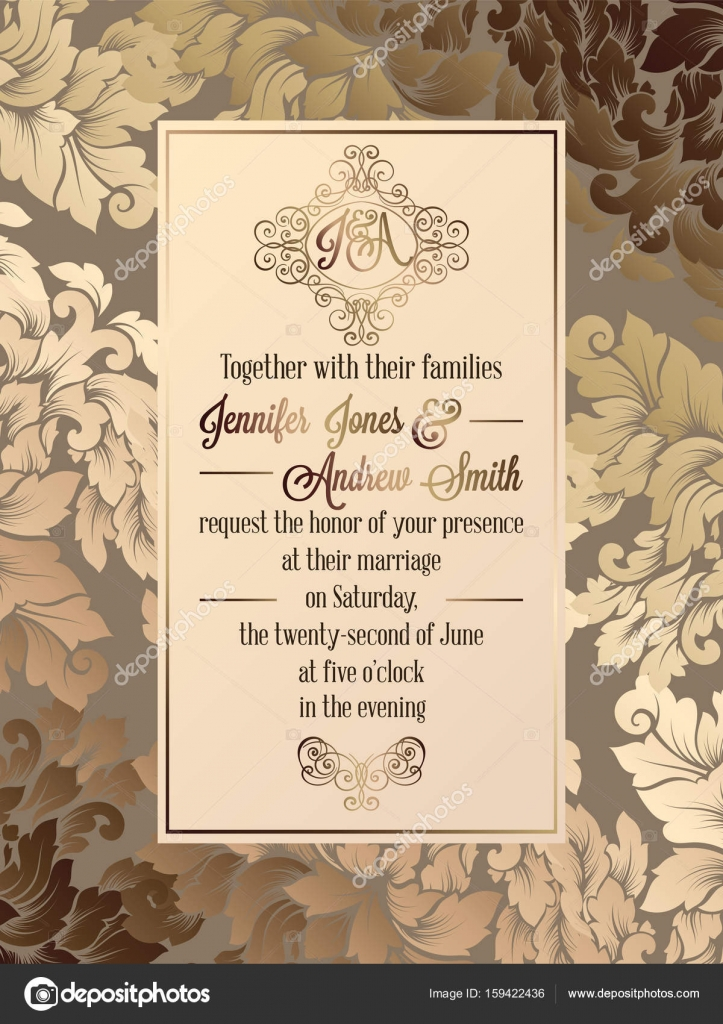 Vintage baroque style wedding invitation card template elegant vintage baroque style wedding invitation card template elegant formal design with damask background traditional decoration for wedding vector by stopboris Image collections