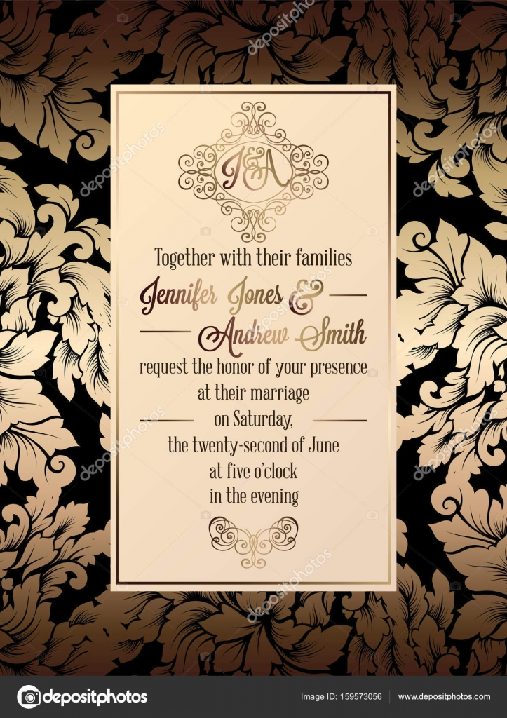 Vintage baroque style wedding invitation card template.. Elegant ...