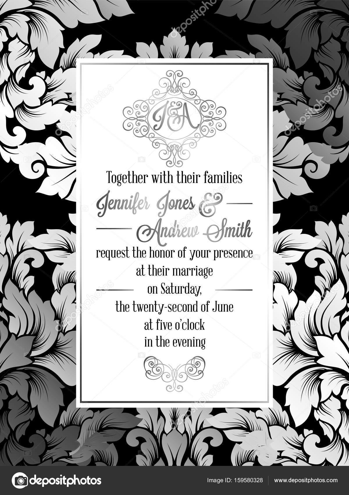 vintage baroque style wedding invitation card template.. elegant