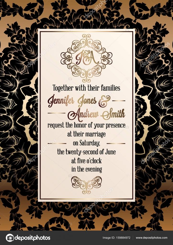 vintage baroque style wedding invitation card template elegant formal design with damask background