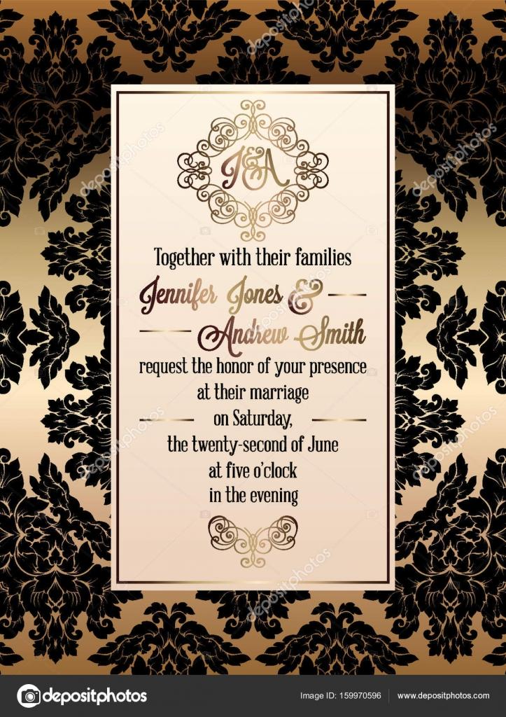 Tarjetas De Invitacion Para Matrimonio Elegantes Plantilla