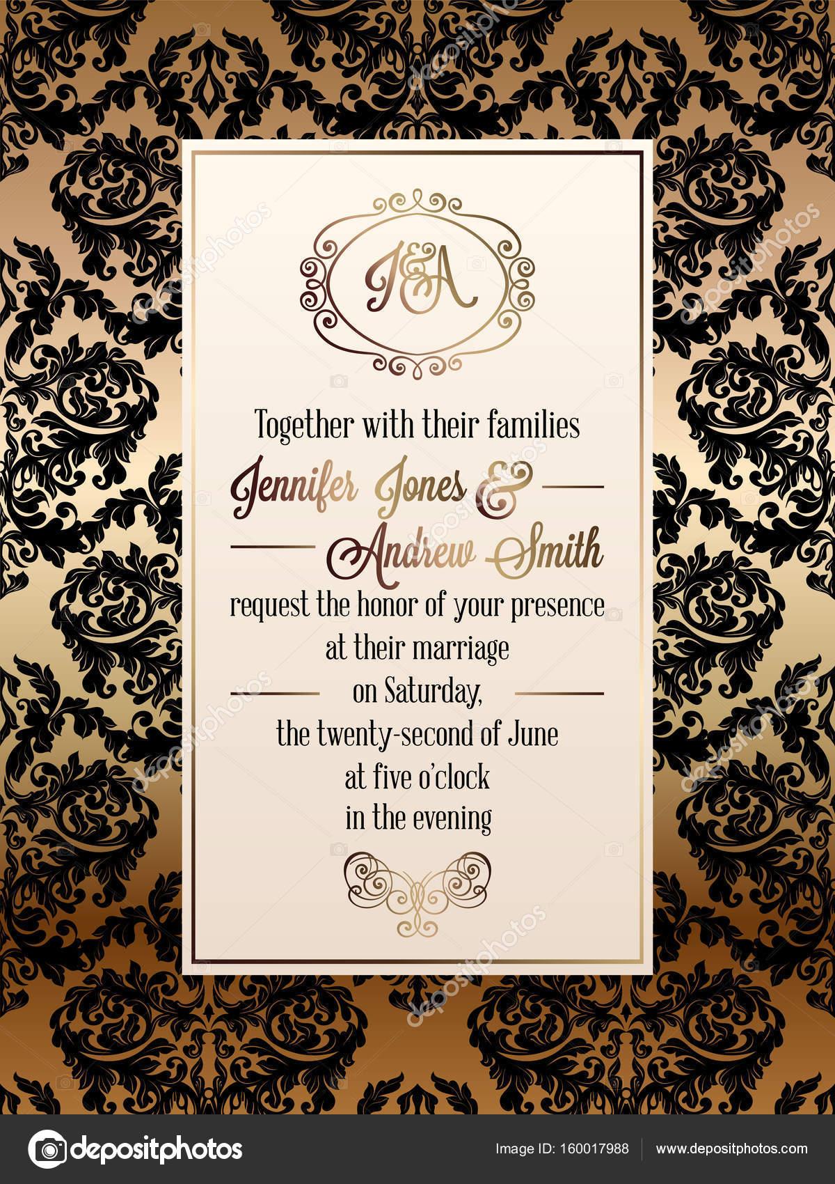 Vintage Barocken Stil Hochzeit Einladung Kartenvorlage... Elegante Formale  Gestaltung Mit Damast Hintergrund