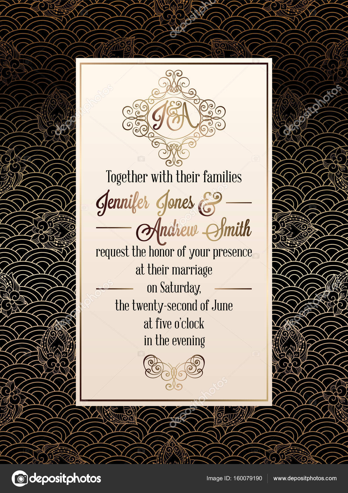 Vintage baroque style wedding invitation card template elegant vintage baroque style wedding invitation card template elegant formal design with damask background yelopaper Images