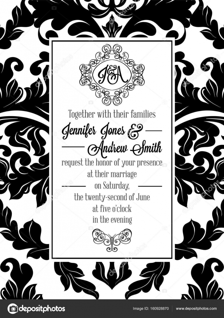 Vintage delicate formal invitation card with black and white lacy vintage delicate formal invitation card with black and white lacy design for wedding marriage bridal baroque style flourish decoration vector by stopboris Images