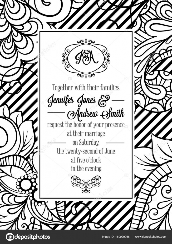 Vintage delicate formal invitation card with black and white lacy vintage delicate formal invitation card with black and white lacy design for wedding marriage stopboris Choice Image