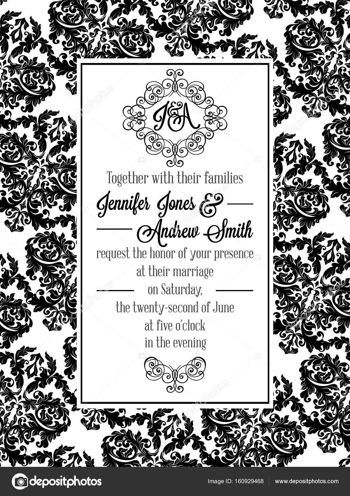Vintage delicate formal invitation card with black and white lacy vintage delicate formal invitation card with black and white lacy design for wedding marriage bridal baroque style flourish decoration stopboris Image collections