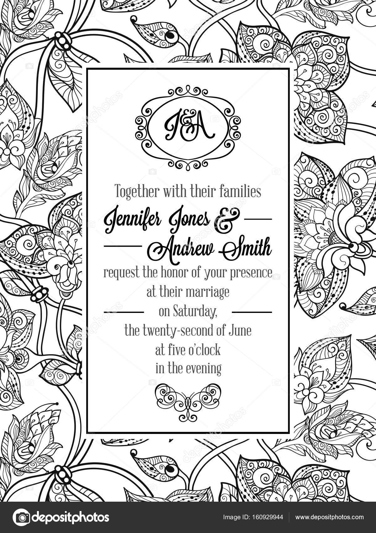 Vintage delicate formal invitation card with black and white lacy vintage delicate formal invitation card with black and white lacy design for wedding marriage bridal vector by miamilky stopboris Images