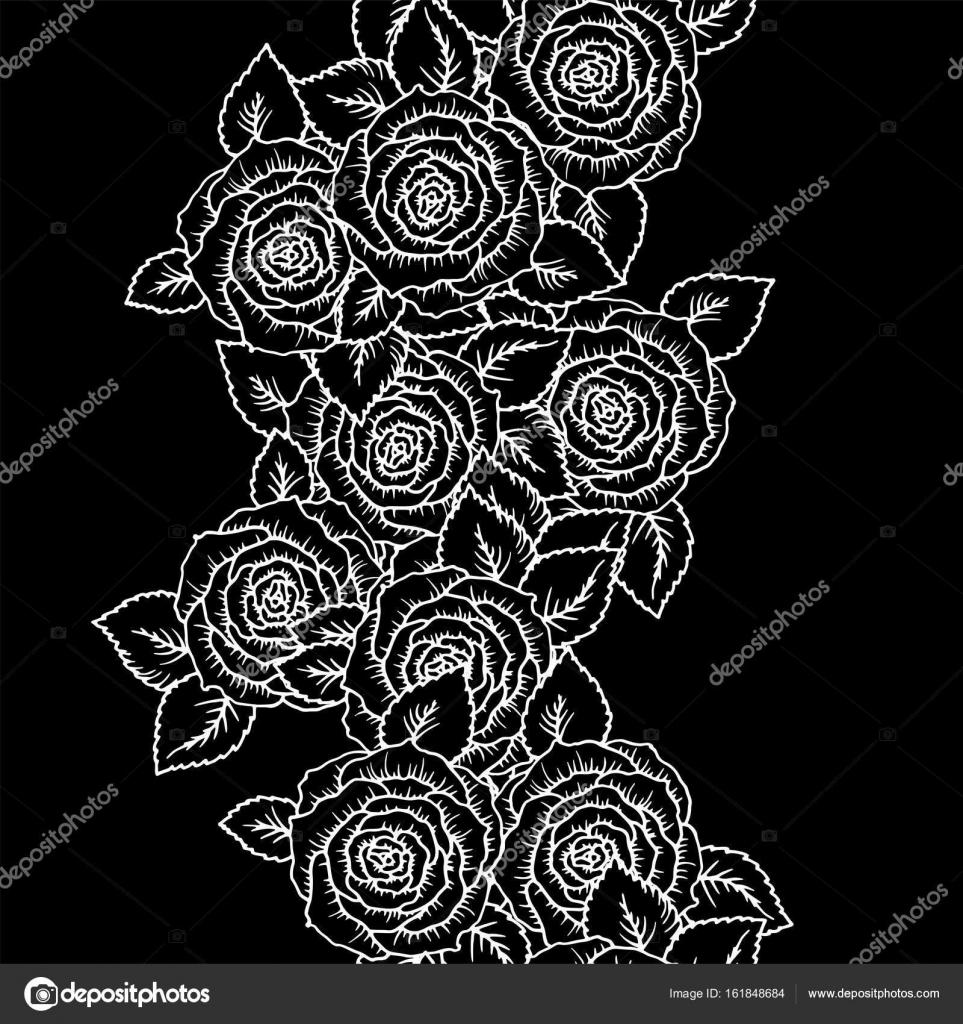 Rosas hermosa blanco y negro de patrones sin fisuras con contornos ...