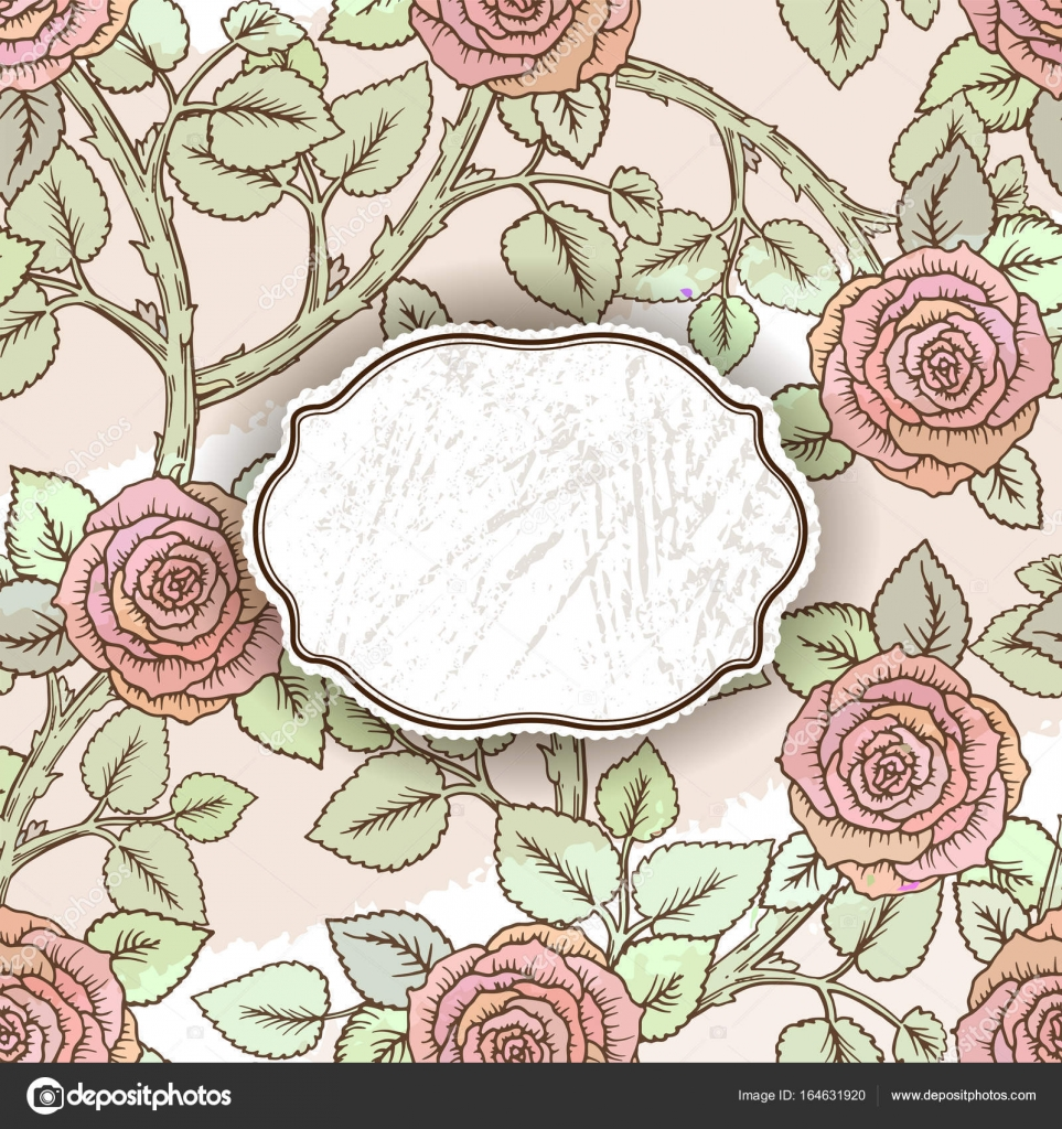 Tarjeta De Felicitación Con Rosas Vintage Puede Utilizarse