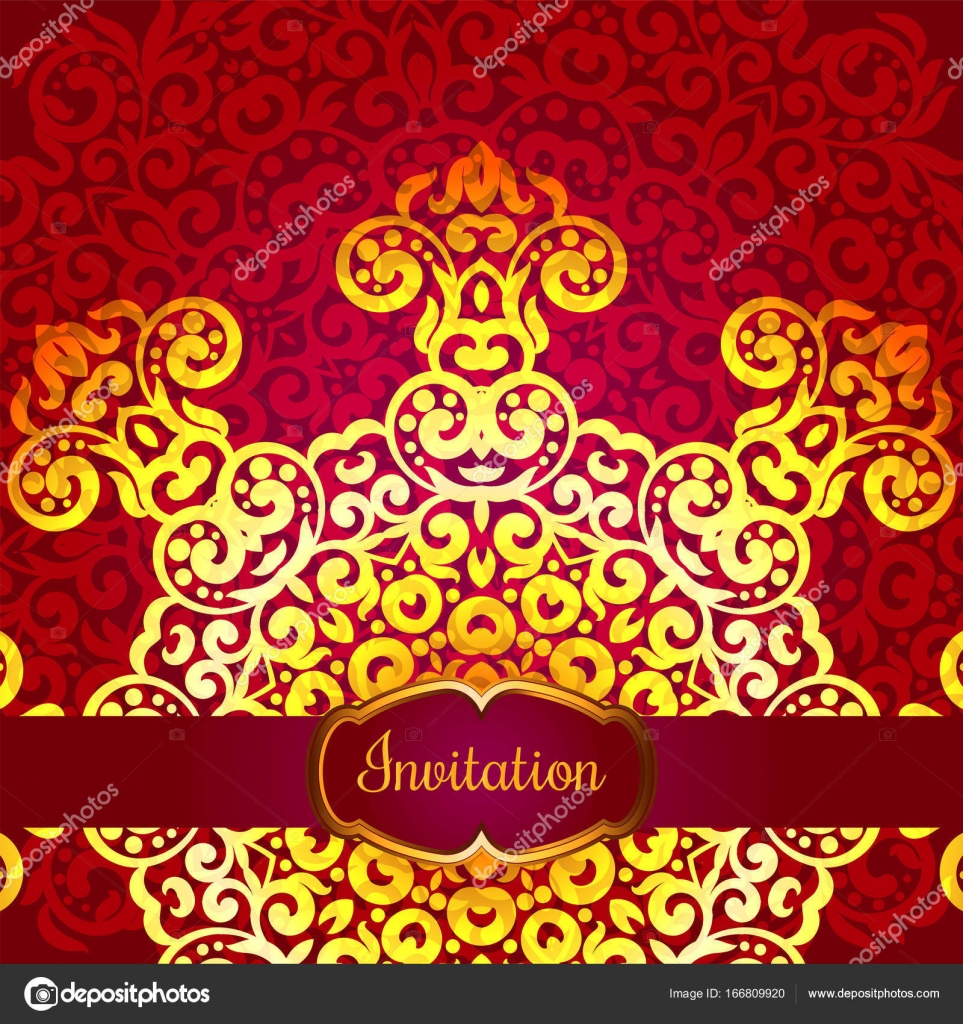 Rich gold invitation card in the Indian style. Bohemian Cards with ...