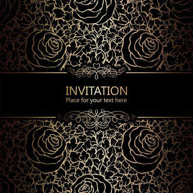 Abstract background with roses, luxury black and gold vintage frame, victorian banner, damask floral wallpaper ornaments, invitation card, baroque style booklet, fashion pattern, template for design.