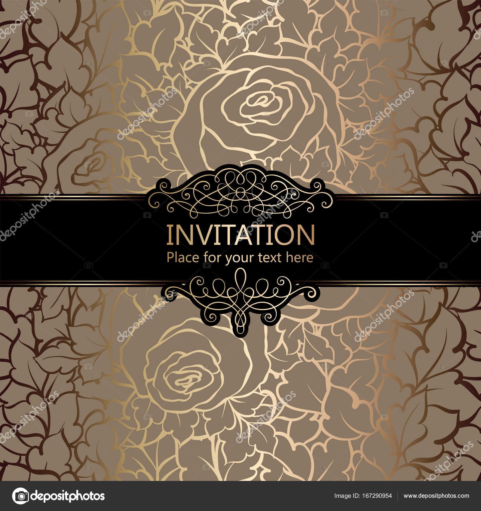 Resumen de fondo con rosas, lujo beige y oro marco vintage, Damasco ...