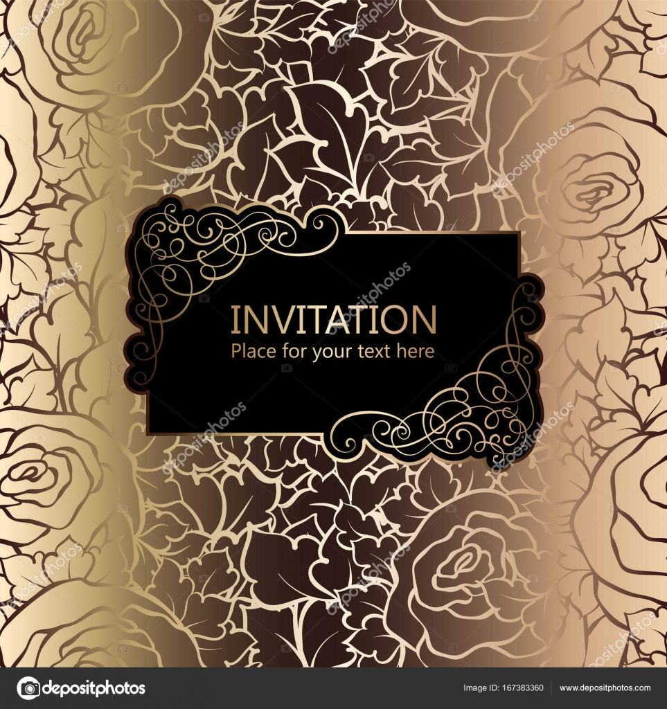 Abstract Background With Roses Luxury Black And Gold Vintage